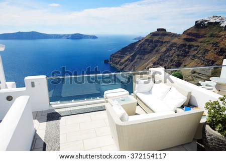 The sea view terrace, Santorini island, Greece - stock photo