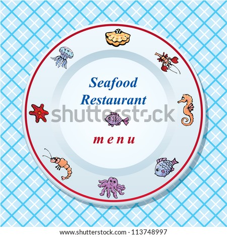 The seafood restaurant menu design - dish on checked tablecloth background. Raster version - stock photo