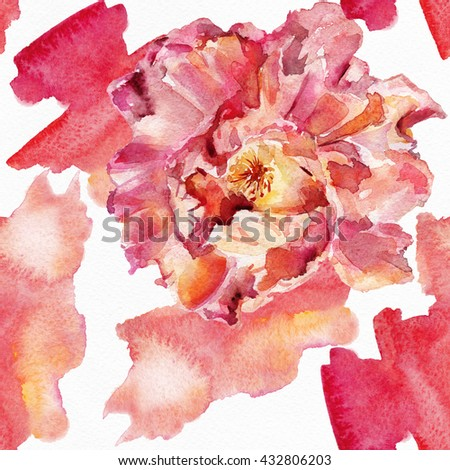 The seamless exotic background drawn  water color paints. Picturesque drawing brush.Watercolor background. Tropical drawing fabric.Color llustration  flowers iwatercolor paintings  Rose, Exotic  - stock photo