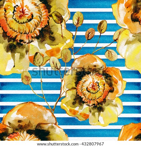 The seamless exotic background drawn with water color paints. Picturesque drawing brush.Watercolor background.Tropical drawing .Color llustration of flowers watercolor paintings .Yellow flowers.  - stock photo