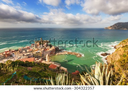 The seaside town with a bird's eye view. Vernazza, Cinque Terre National Park, Italy - stock photo