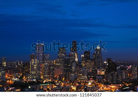 The Seattle skyline at dusk seen from up high - stock photo