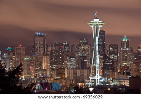 The Seattle, Washington skyline at night. - stock photo