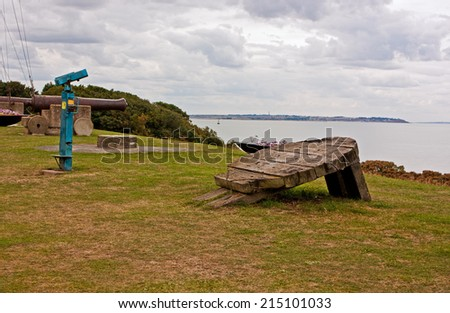 The seaview looking out from the top of the hill over Tankerton beach / Looking glass and canon - stock photo