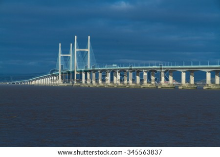 The Second Severn crossing is a bridge that carries the M4 motorway over the Bristol Channel or River Severn Estuary between England and Wales, United Kingdom. Morning light from East. - stock photo