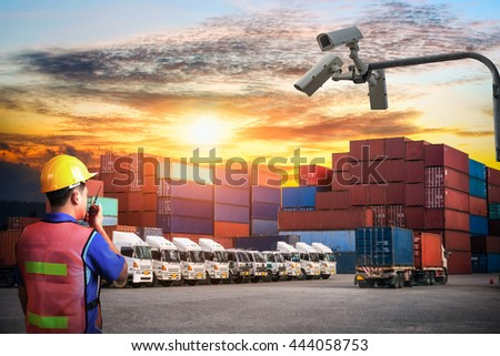 The security cameras on Industrial Container Cargo freight ship for Logistic Import Export background - stock photo