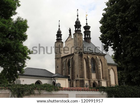 The Sedlec Ossuary (Czech: Kostnice v Sedlci) is a small Roman Catholic chapel in Czech Republic - stock photo