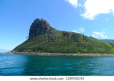 The Sentinel Peak at the Hout Bay harbour near Cape Town, South Africa - stock photo
