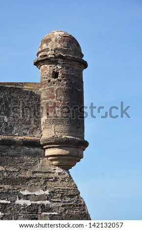 The sentry lookout tower at the fort - Castillo de San Marcos in St Augustine, Florida - stock photo