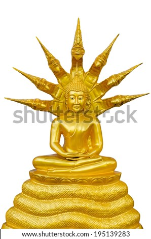 The Serpent is a Buddha image on top - stock photo