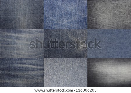 the set blue denim jeans textures, can be used as background - stock photo