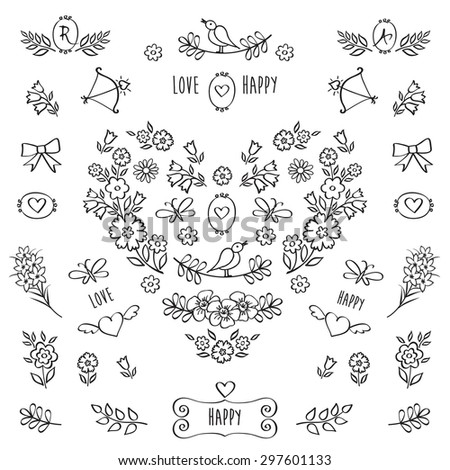 The set of hand drawn decorative floral elements for Valentine's Day, mother's day, birthday, wedding. Vintage heart of flowers. - stock photo