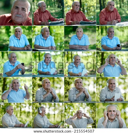 the set of images with an older man outdoors, active lifestyle - stock photo