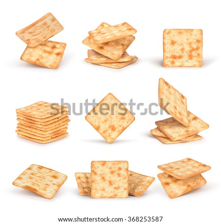 the set of square crackers with shadow isolated on white background - stock photo