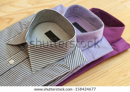 The set of stylish men's shirts made of cotton - stock photo