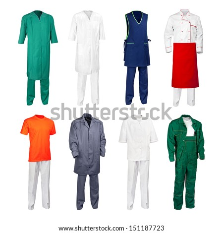 The set of various work clothes - chef cook, builder, physician, scientist, nurse, office cleaner and other workers - isolated over white background. - stock photo