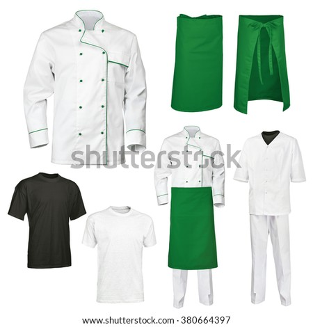 The set of white and green chef cook's clothes with gray and black t-shirt, isolated over white background - stock photo