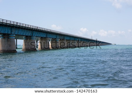 The Seven Mile bridge was built by Henry Flagler as part of the Overseas Railroad to Key West. Florida purchased this bridge and used it in the overseas highway to Key West until it was replaced. - stock photo