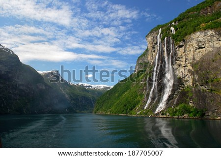 The Seven Sisters Waterfall in Geiranger Fjord, Norway - stock photo