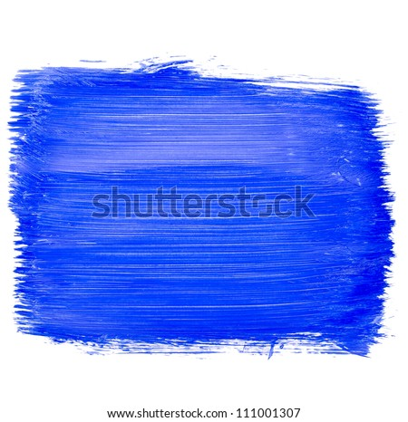 The shaded portion of the paper, a large smear blue acrylic paint isolated on white background - stock photo