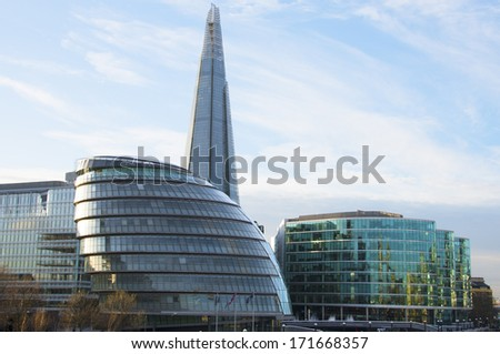 The Shard, London seen from River Thames - stock photo