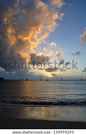 The sheltered harbour of Rodney Bay on St Lucia - stock photo