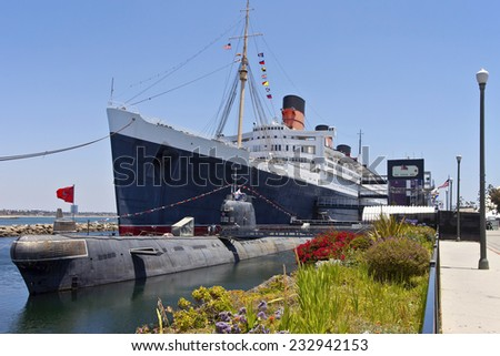 The ship and a Russian submarine moored in Long Beach California. - stock photo