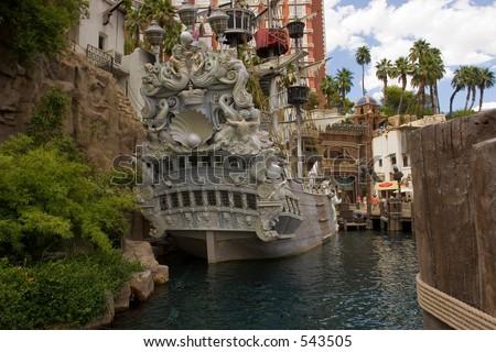 The Ship in front of Treasure Island, USA Las Vegas - stock photo