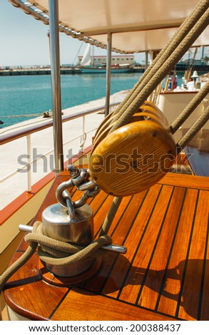 The ship's rigging in a sailing barge - stock photo