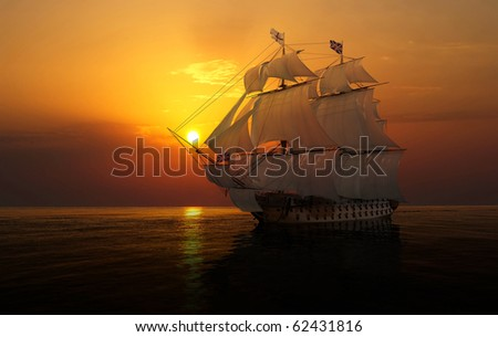 The ship sails at sea - stock photo