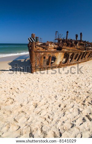 The shipwrecked liner S.S. Maheno on the coast of Fraser Island - stock photo