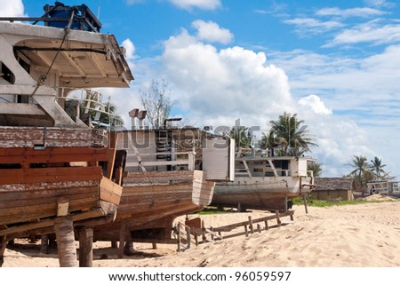 The shipyard of Antalaha, eastern Madagascar - stock photo