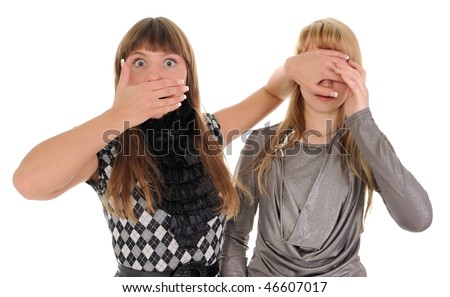 The shocked girl closes eyes to the girlfriend - stock photo