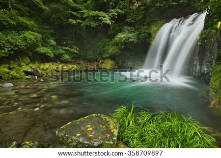 The Shokeidaru waterfall along the Kawazu Nanadaru waterfall trail on the Izu Peninsula of Japan. - stock photo