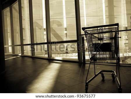 The shopping cart is abandoned after usage. Someone said the shopping is a good therapy rather than any medication for women. Agree? - stock photo