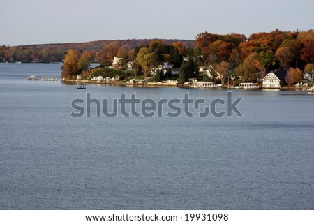 The shoreline on Geneva Lake in Wisconsin - stock photo