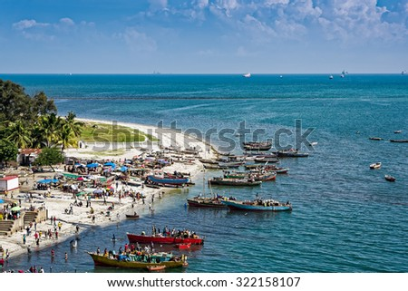 The shores of the Indian Ocean in Dar es Salaam, Tanzania, Africa - stock photo