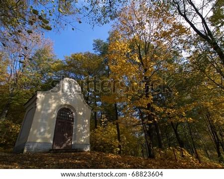 The shrine in autumn - stock photo
