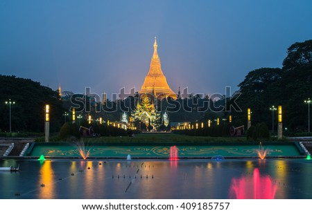 The Shwedagon pagoda view from people's park of Yangon, Myanmar. - stock photo