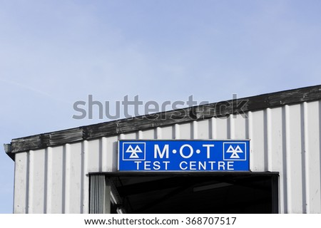 The sign for an MOT vehicle test centre in the UK - stock photo