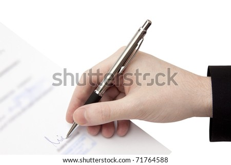The Signature of Business Contract isolated on the white Background - stock photo