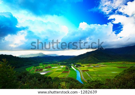 The signature view of Kauai from the famous Hanalei Valley Outlook. More with keyword Series001B.