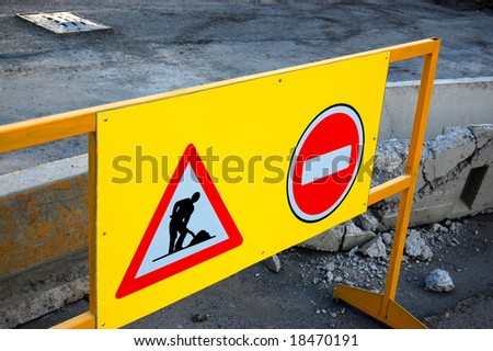 "The Signs `Work` and "" STOP "" - stock photo"
