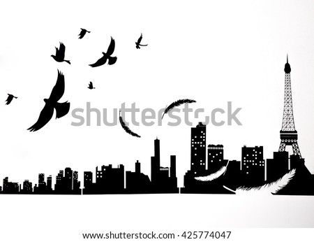 The silhouette birds flying over the Paris on a white background, The silhouette of the city of Paris. Paris culture design.  - stock photo