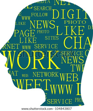 the silhouette of head with the words on the topic of social networking - raster - stock photo