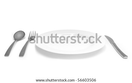 The silver plug and spoon and plate isolated on grey background - stock photo