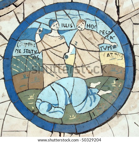 The sinning woman, Mosaic in front of the church on the Mount of Beatitudes - stock photo