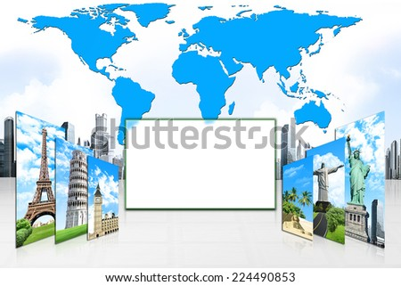 The six picture of the travel concept on the map of world background, with white space in the middle. European holidays. Traveling background. Concept. - stock photo