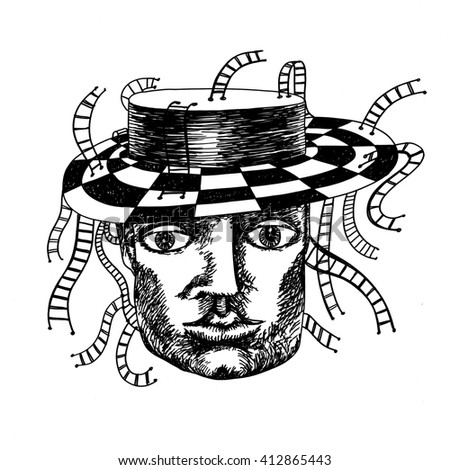 The sketched hand drawn illustration of a fantasy human head with a hat and a lot of rope ladders made with the ink pen - stock photo