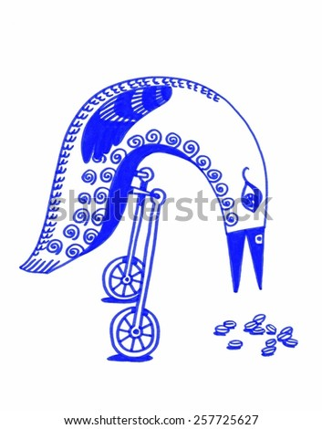 The sketched illustration of a fantasy blue bird on the wheels pecking the seeds made manually with the marker and ink pen  - stock photo